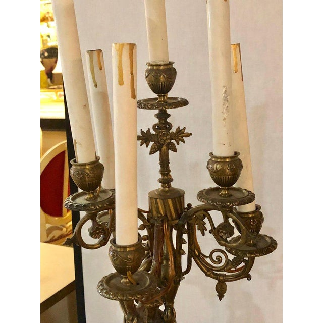 Early 20th Century A Pair of 19th Century Neoclassical Style Figural Bronze Candelabras For Sale - Image 5 of 12