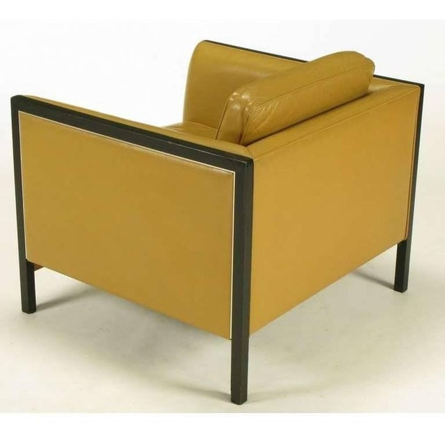 Pair of Stow Davis Leather, Ebonized Wood and Aluminium Even Armchairs For Sale - Image 4 of 10