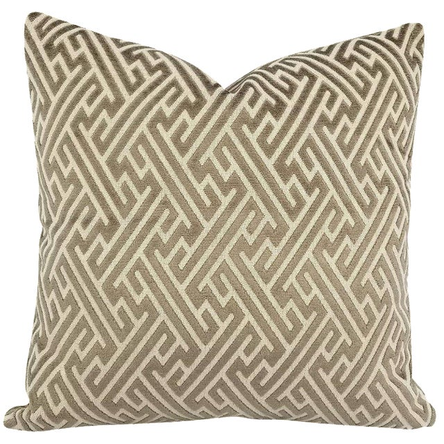 "Holly Hunt in Labyrinth Field Stone - Gray and White Geometric Fretwork Velvet Pillow Cover 20"" X 20"" For Sale"