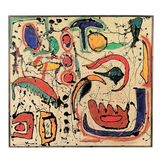 Andrea Bonora Large Joan Miro Inspired Abstract Painting For Sale