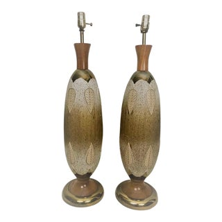 20th Century Hollywood Regency Teak, Brass and Gold Textured Ceramic Table Lamps - a Pair For Sale