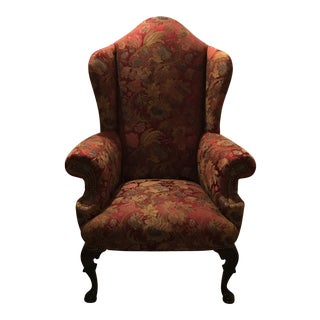 Antique Mahogany Silk Upholstered Wingback Chair For Sale