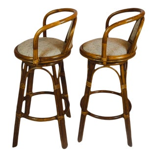 Pair of Upholstered Bamboo Midcentury Swivel Bar Stools For Sale
