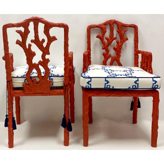 1970s Carved Italian Red Faux Bois Jim Thompson Blue & White Linen Arm Chairs - a Pair For Sale - Image 5 of 9