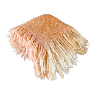 Handmade Knitted Pink and Cream Mohair Blanket For Sale