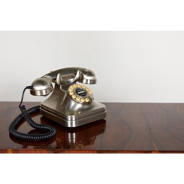 Mid-Century Modern Retro Brushed Nickel Push Button Telephone For Sale - Image 3 of 9