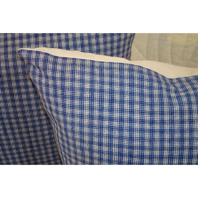 Rustic 19th Century Linen Plaid Pillows For Sale - Image 3 of 3