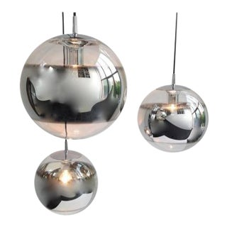 Very elegant Mirrored Glass Globe Pendant Lamps, 1960s, Set of 3
