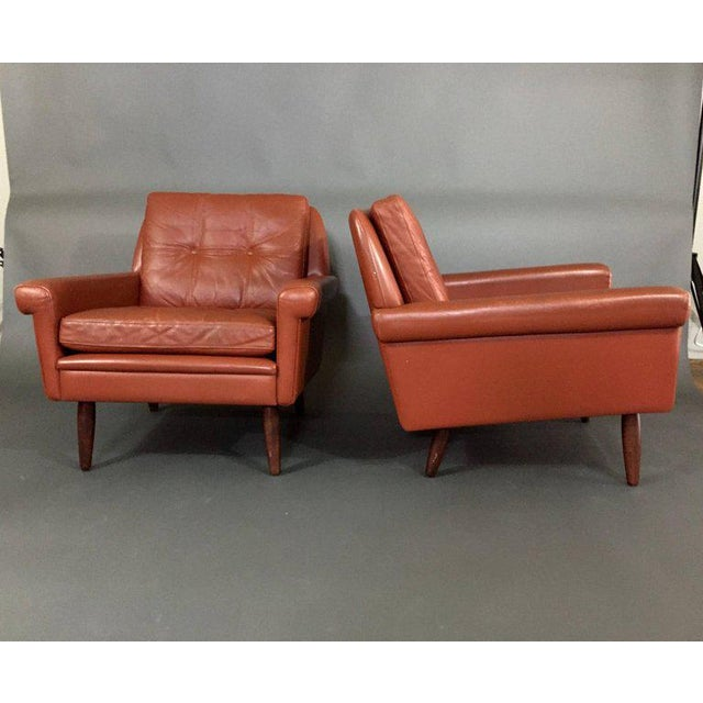 Orange Pair 1960s of Danish Leather Lounge Chairs For Sale - Image 8 of 8