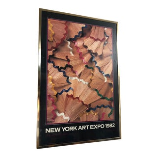 Vintage 1982 New York Art Expo 1982 Framed Poster by Stan Sholik For Sale