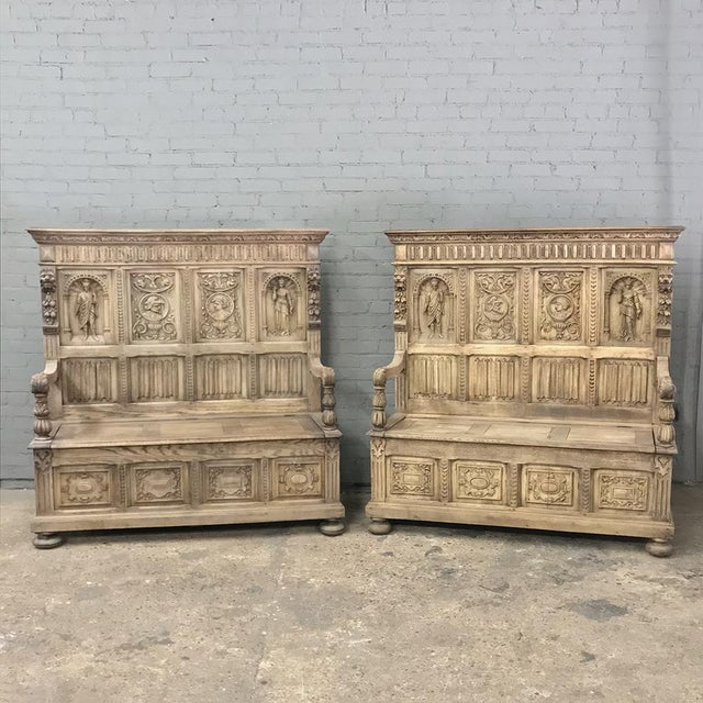 Pair 19th Century Italian Stripped Oak Hall Benches For Sale - Image 13 of 13