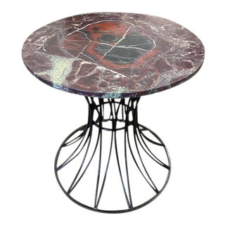 Round Variegated Marble Top Foyer Entry Entrance Table With Black Wrought Iron Sculptural Base For Sale