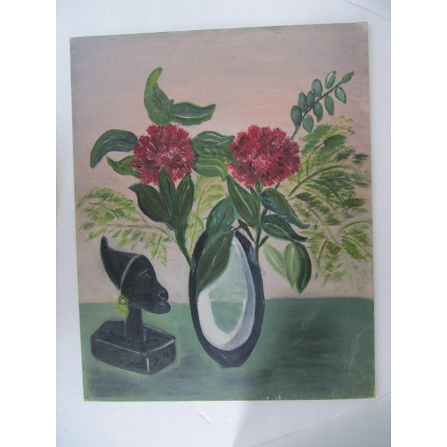 Mid-Century Still Life Painting With Flowers - Image 2 of 8