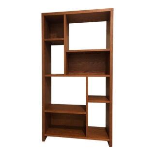 Dark Brown Wood Rectangular Cutout Bookcase