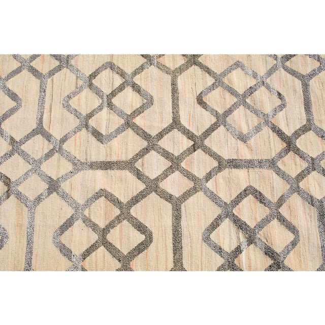 """Boho Chic Geometric Turkish Kilim Woven With Old Wool Rug - 9'11"""" X 8'2"""" For Sale - Image 3 of 4"""