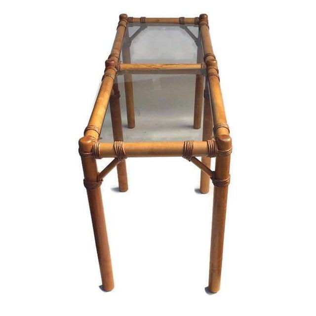 "Vintage Safari Campaign Sofa Table Console Table Smokey Glass - 50"" For Sale - Image 4 of 11"