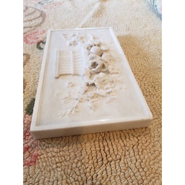 Americana Carved Marble Floral Basket Panel For Sale - Image 3 of 8