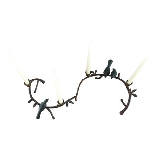 Birds on Branch Candle Holder Centerpiece - a Pair For Sale