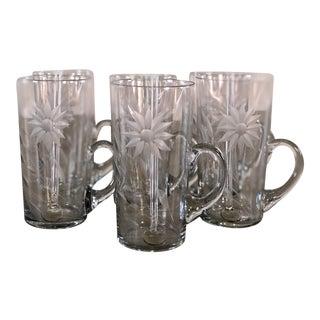Vintage 1950s Glass Handled Irish Coffee Mugs, Set of 6 For Sale