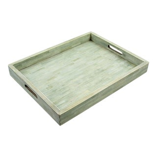 Pinstripe in Sage over White Decorative Tray, Large For Sale