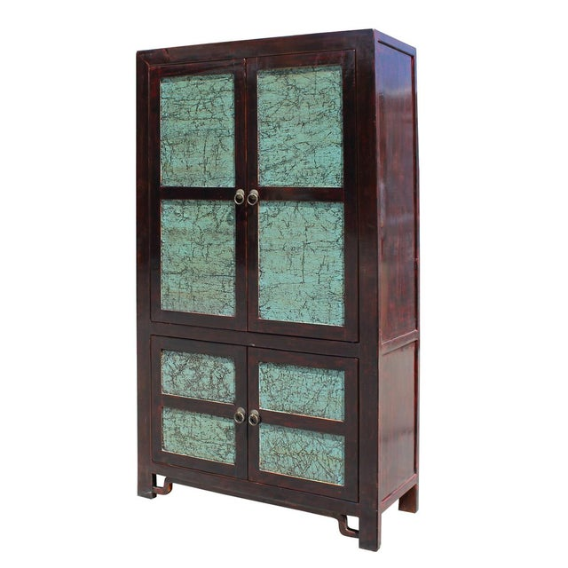 Asian Chinese Distressed Turquoise & Brown Armoire For Sale - Image 3 of 7