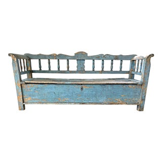 Primitive European Carved Bench For Sale