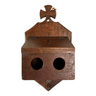 Antique Oak Alms Church Collection Box For Sale