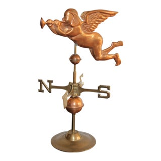 19th Century Antique Brass & Copper Angel Weathervane For Sale