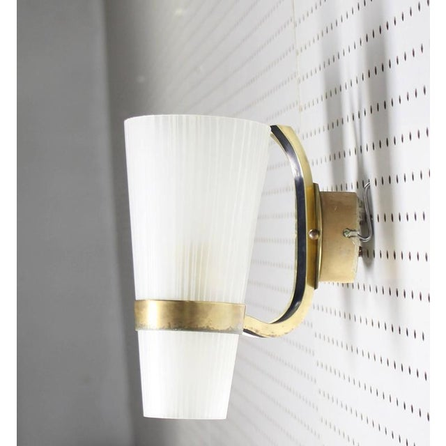 Italian Brass Italian Mid-Century Modern Sconce Striped Satin Glass Cone Shades For Sale - Image 3 of 4