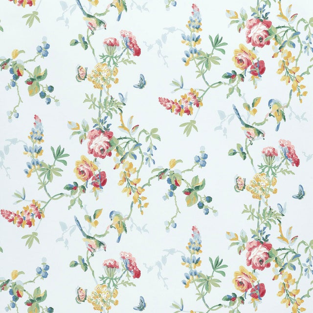 Contemporary Schumacher Chickadee Floral Wallpaper in Sky For Sale - Image 3 of 3