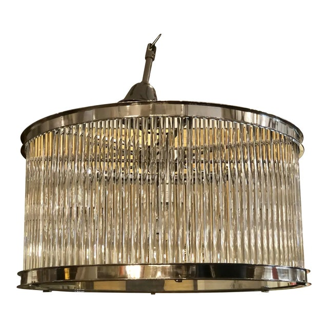 2000 - 2009 French Art Deco Machine Age Glass Rod Light Fixture Chandelier For Sale - Image 5 of 5