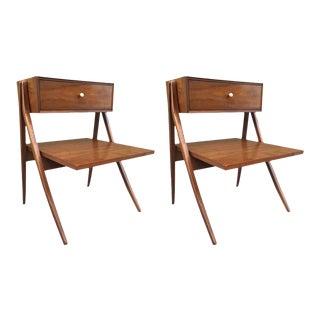 Kipp Stewart & Stewart MacDougall Sculptural Walnut Nightstands For Sale