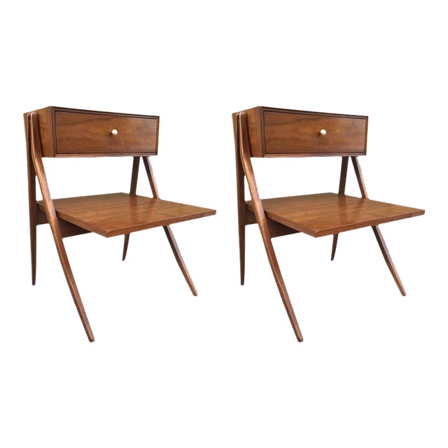 Kipp Stewart & Stewart MacDougall Sculptural Walnut Nightstands - Image 1 of 4