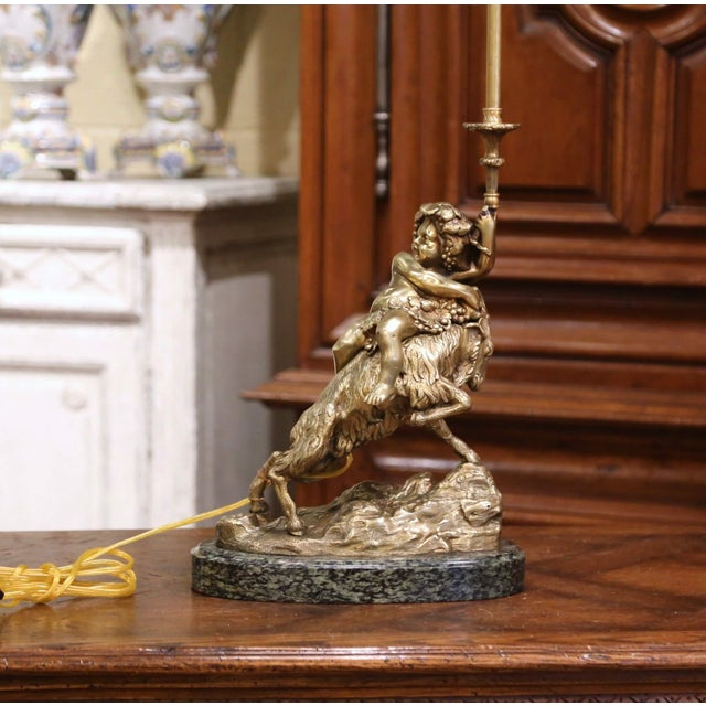Figurative 19th Century French Bronze Dore Young Bacchus and Ram Table Lamp on Marble Base For Sale - Image 3 of 13