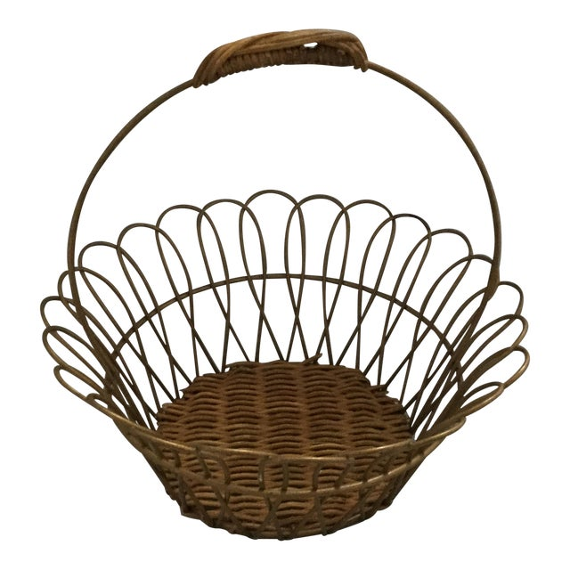Gold Vintage Metal Basket With Bamboo Bottom For Sale