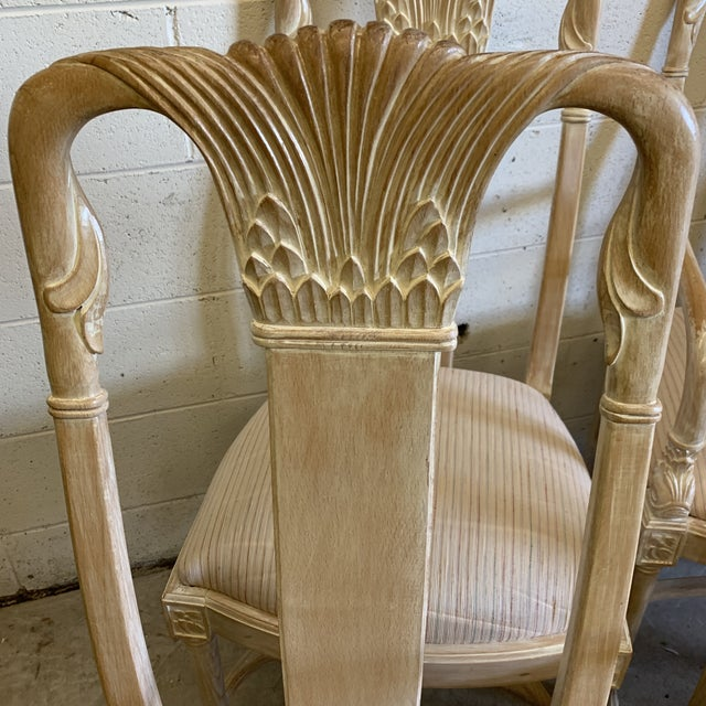 Bleached Wood Hand Carved Dining Chair's-A Set of 6 For Sale - Image 4 of 13