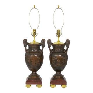 Circa 1900 Pair of Antique Bronze Sculpture Table Lamps W/ Greek Amphora Form For Sale