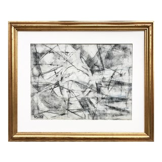 Harold Christopher Davies Abstract Charcoal Drawing