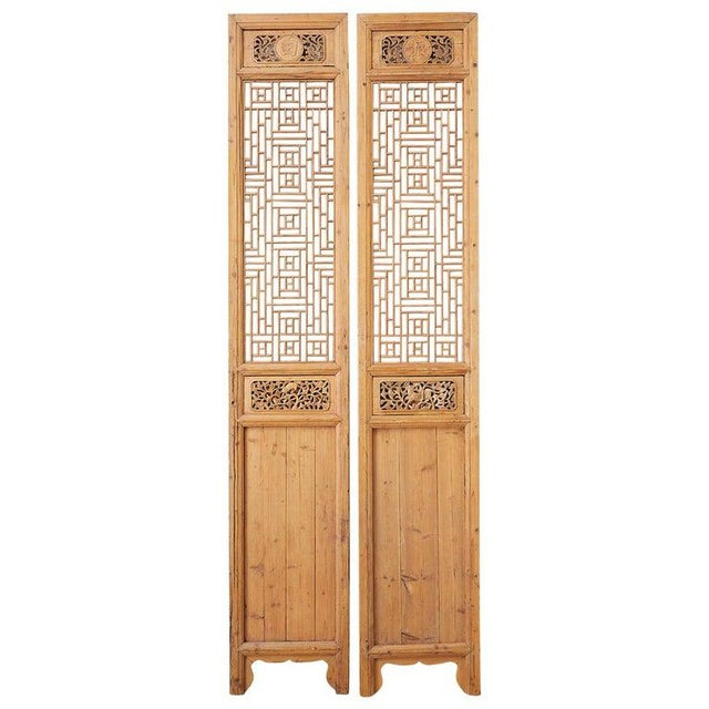 Pair of Chinese Carved Doors With Lattice Windows For Sale - Image 13 of 13