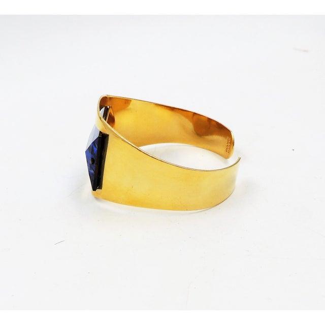 Metal 1970s Bijoux Cascio Italy Blue Rhinestone Cuff Bracelet For Sale - Image 7 of 9