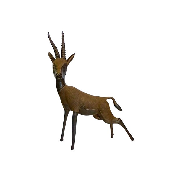 Solid Brass Antelope with Patina - Image 1 of 6