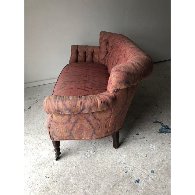 English Traditional English Traditional Paisley Upholstered Loveseat Frame For Sale - Image 3 of 11