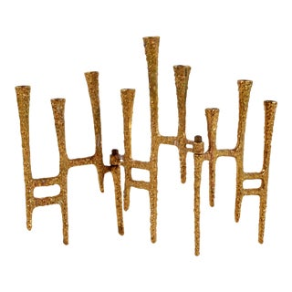 Mid Century Modern Brutalist Brass Menorah For Sale