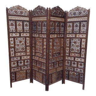Intricate Detail Teak 4 Panel Privacy Screen For Sale