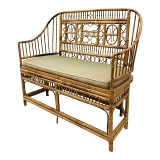 Vintage Scorched Bamboo & Cane Settee For Sale