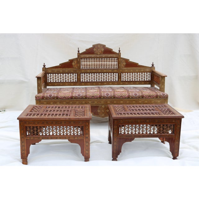 Antique Syrian Moorish Style Inlaid Settee & Tables - Set of 3 - Image 11 of 11