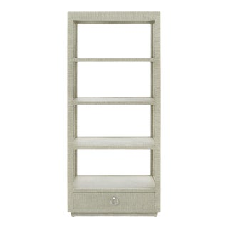 Bungalow 5 Camilla Etagere, Moss Gray Tweed Lacquered Grasscloth For Sale