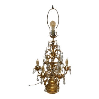 Early 20th Century Antique Italian Rococo Crystal Gold Leaf Table Lamp / Girandoles Candelabra For Sale