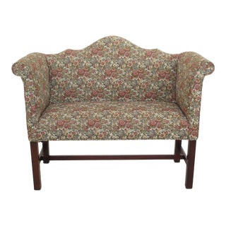 1990s Vintage Southwood Upholstered Chippendale Mahogany Window Bench For Sale