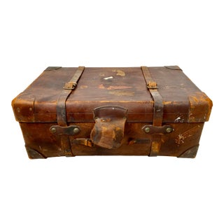 Vintage Brown Leather Military Travel Trunk by r.w. Forsyth For Sale